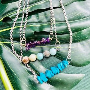 Turquoise , Jade or Pearls Bar Necklace